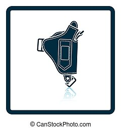 Police holster gun icon Shadow reflection design Vector...
