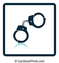 Police handcuff icon Shadow reflection design Vector...