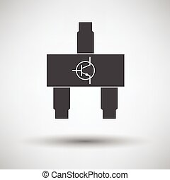 Smd transistor icon on gray background with round shadow...