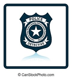 Police badge icon. Shadow reflection design. Vector...