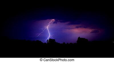 Lightning - a lightning strike against the dark night sky