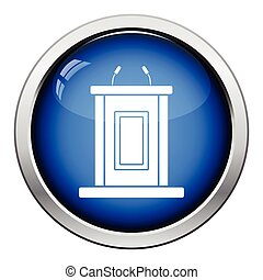 Witness stand icon Glossy button design Vector illustration...