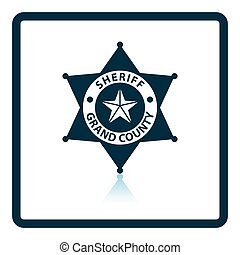 Sheriff badge icon. Shadow reflection design. Vector...