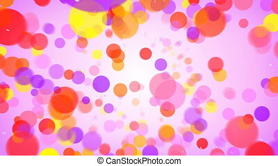 Flying colorful circles abstract background seamless loop