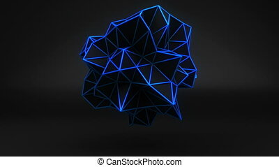 Blue glow polygonal 3D shape on black. Loop
