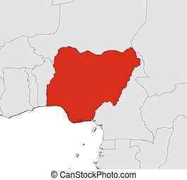 Map - Nigeria - Map of Nigeria and nearby countries, Nigeria...