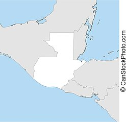 Map - Guatemala - Map of Guatemala and nearby countries,...