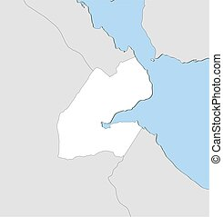 Map - Djibouti - Map of Djibouti and nearby countries,...