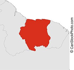 Map - Suriname - Map of Suriname and nearby countries,...