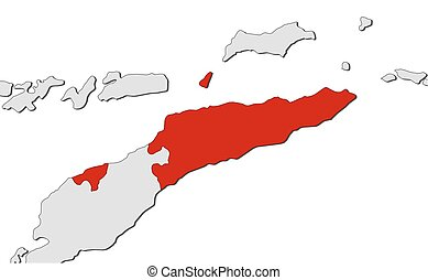 Map - East Timor - Map of East Timor and nearby countries,...