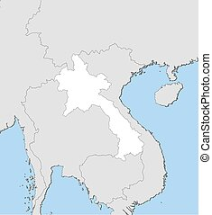 Map - Laos - Map of Laos and nearby countries, Laos is...