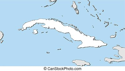Map - Cuba - Map of Cuba and nearby countries, Cuba is...