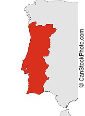 Vector Of Map Icon Of Portugal Blue Map Of Europe With - Portugal map icon