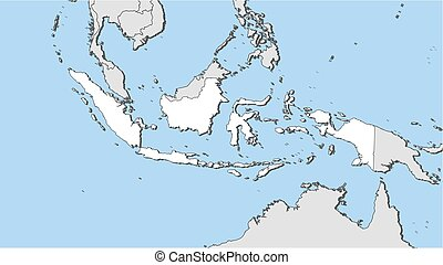 Map - Indonesia - Map of Indonesia and nearby countries,...