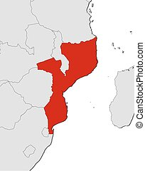Map - Mozambique - Map of Mozambique and nearby countries,...