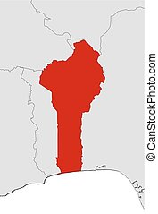 Map - Benin - Map of Benin and nearby countries, Benin is...