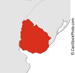 Map - Uruguay - Map of Uruguay and nearby countries, Uruguay...