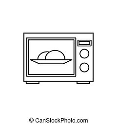 Microwave oven icon, outline style - Microwave oven icon in...