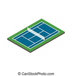 Tennis court icon, isometric 3d style - Tennis court icon in...
