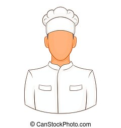 Cook icon in cartoon style - icon in cartoon style on a...
