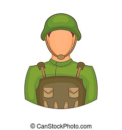 Soldier icon in cartoon style - icon in cartoon style on a...