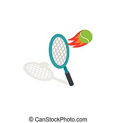Flying tennis ball icon, isometric 3d style - Flying tennis...