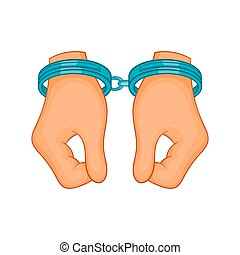 Hands in handcuffs icon, cartoon style - icon in cartoon...