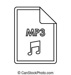 MP3 audio file extension icon, outline style - MP3 audio...