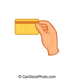 Hand holding a credit card icon, cartoon style