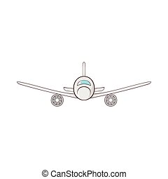 Cargo plane icon in cartoon style