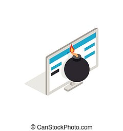 Bomb and computer monitor icon, isometric 3d style - icon in...