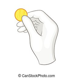 Hand in a white glove holding a gold coin icon