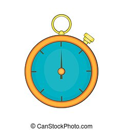 Stopwatch icon in cartoon style - icon in cartoon style on a...