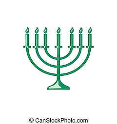 Menorah icon in cartoon style - icon in cartoon style on a...