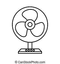 Electric table fan icon, outline style - Electric table fan...