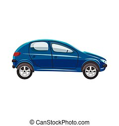Blue hatchback car icon, cartoon style - icon in cartoon...
