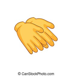 Yellow rubber gloves icon, cartoon style - Yellow rubber...