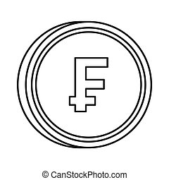 Currency of Switzerland franc icon, outline style - Currency...