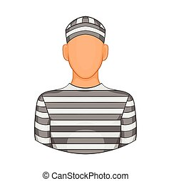 Prisoner icon in cartoon style - icon in cartoon style on a...