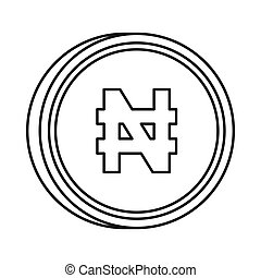 Nigerian naira sign icon, outline style - Nigerian naira...