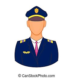 Pilot icon in cartoon style