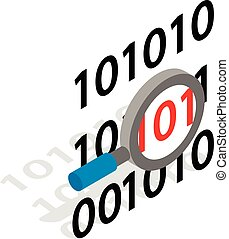 Binary code and magnifying glass icon in isometric 3d style...