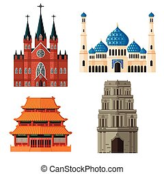 Set of Place of Worship for Different Religions - A vector...