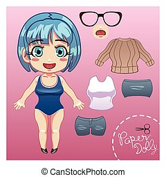Cut Dress Up Paper Doll - A vector illustration of cut dress...