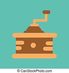 flat icon on background coffee mill grinder