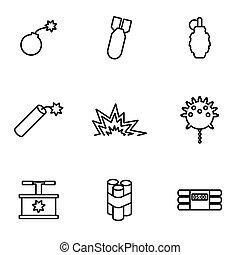 Vector line bomb icon set