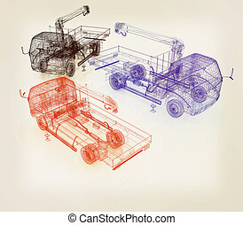 3d model truck 3D illustration Vintage style