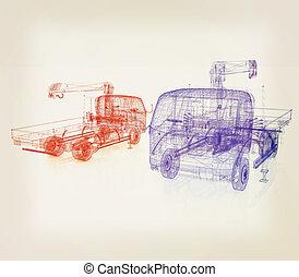 3d model truck. 3D illustration. Vintage style.