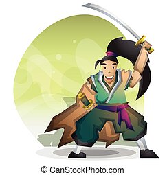 Cartoon vector samurai with separated layers for game and...