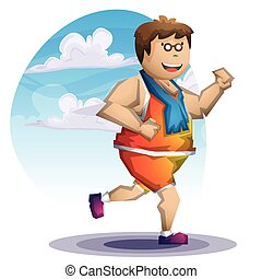 Cartoon vector fat boy run with separated layers